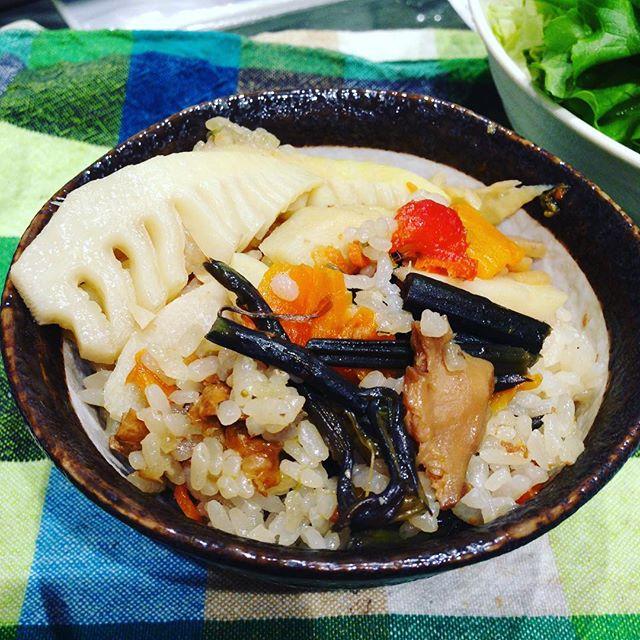 タケノコご飯を作って見ました!うちの山で、山菜も入れて見ましたよ!