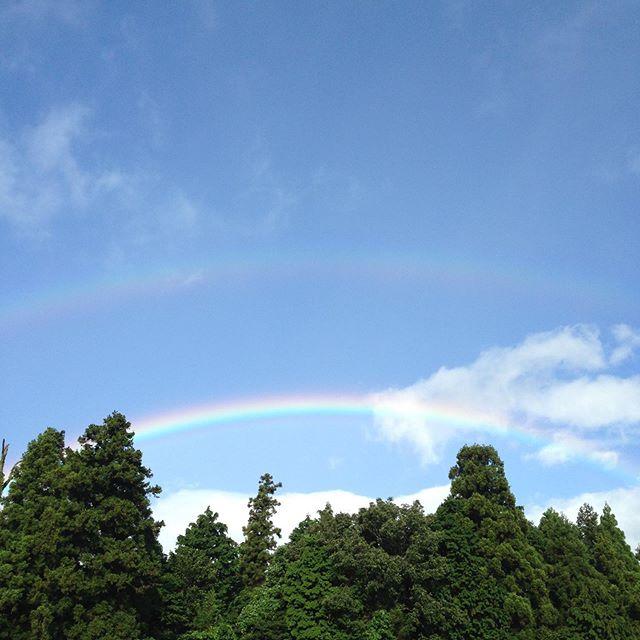 二重の虹が出てます。